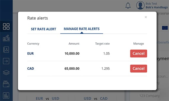 Rate Alerts Dashboard example